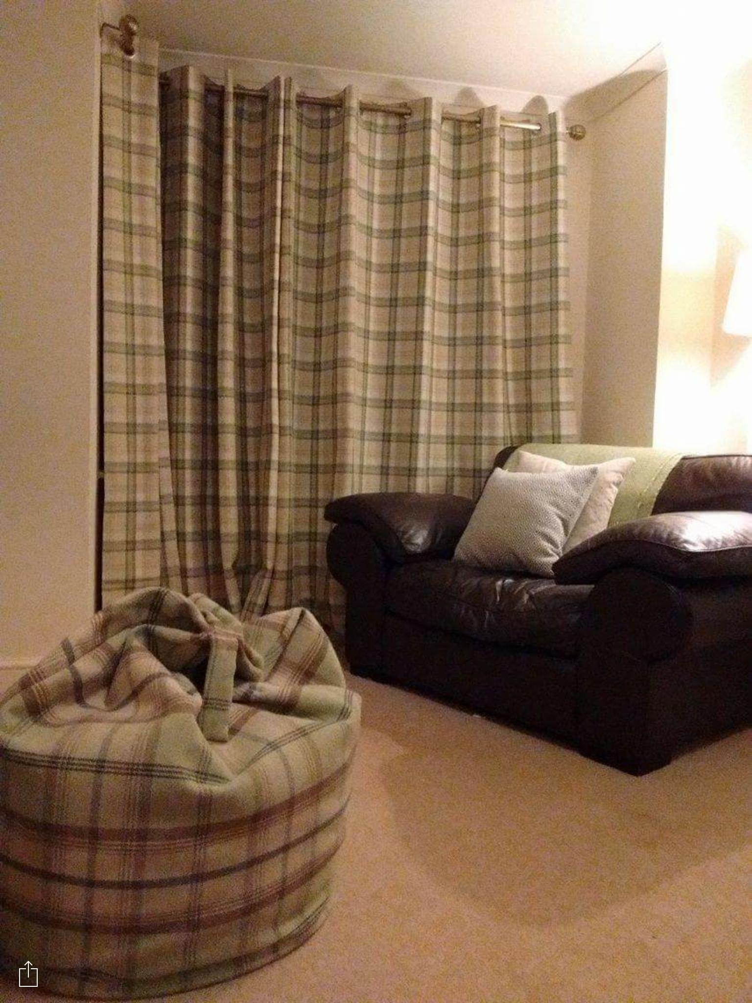 Balmoral Highland Check Curtains Leather Sofa