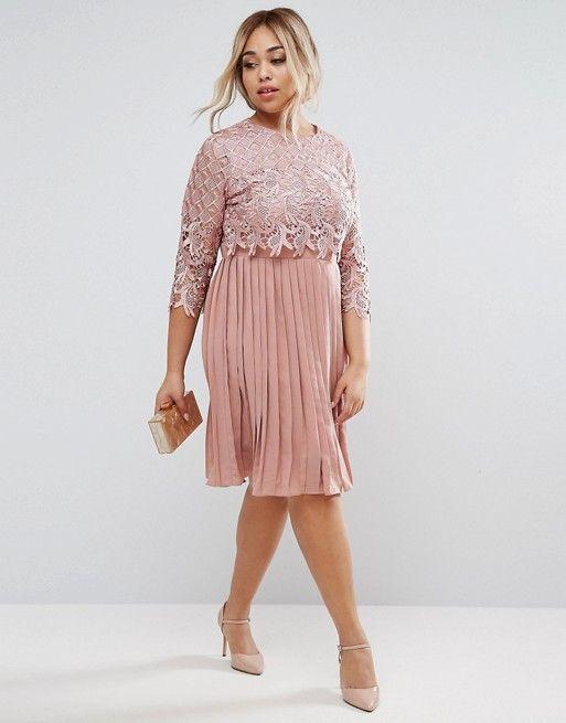 Fashion · Little Mistress Plus Premium Lace Overlay Midi Dress ...