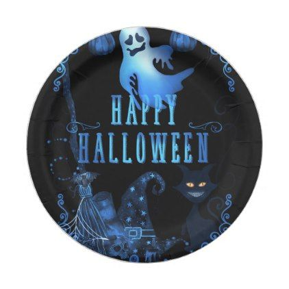 Magical Halloween Party Black Cat Blue Light Glow Paper Plate - decorating for halloween party