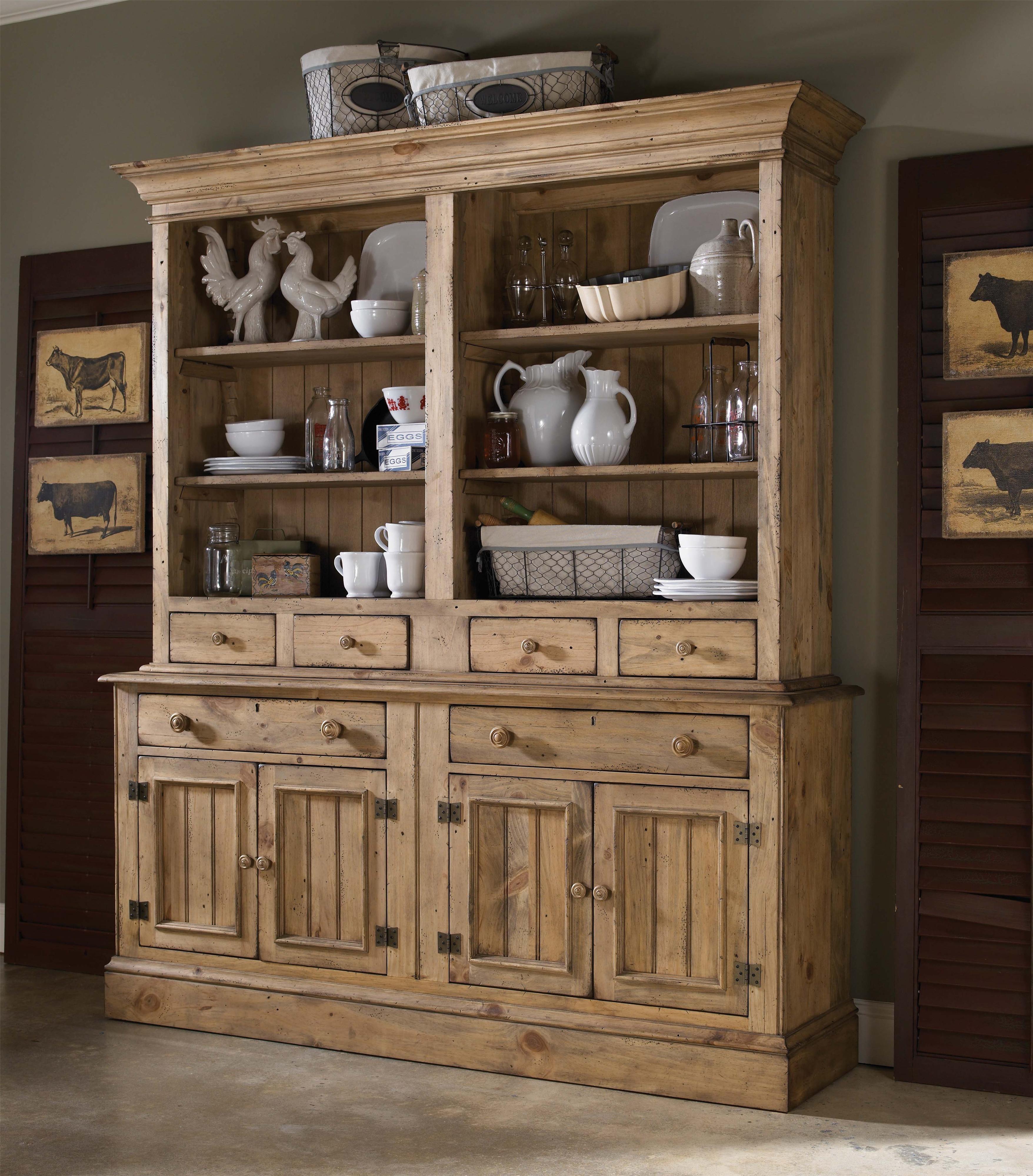 Farmhouse Furniture Wood Kincaid Buffet Hutch China Cabinets Buffets Homecoming Dining Table Room