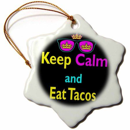 3dRose Cmyk Keep Calm Parody Hipster Crown And Sunglasses Keep Calm And Eat Tacos, Snowflake Ornament, Porcelain, 3-inch