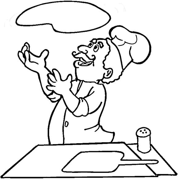 Italian Is Cooking Pizza Coloring Page Pizzaiolo Profissoes