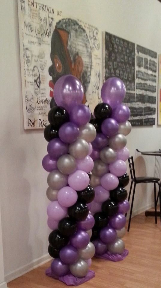 Purple, Light Purple, Silver and Black Balloon Columns by
