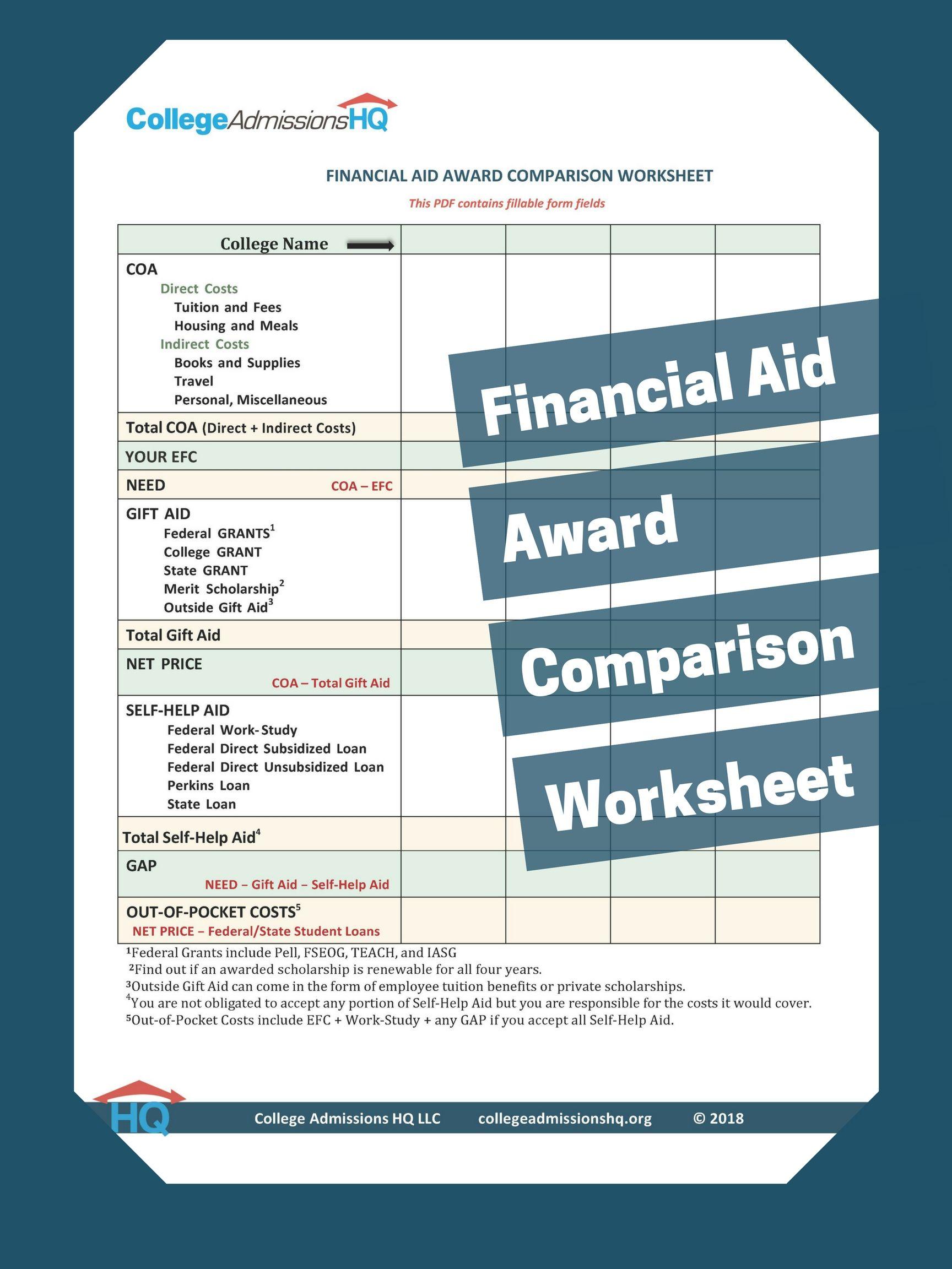 Financial Aid Award Comparison Worksheet Financial Aid For College Grants For College Financial Aid