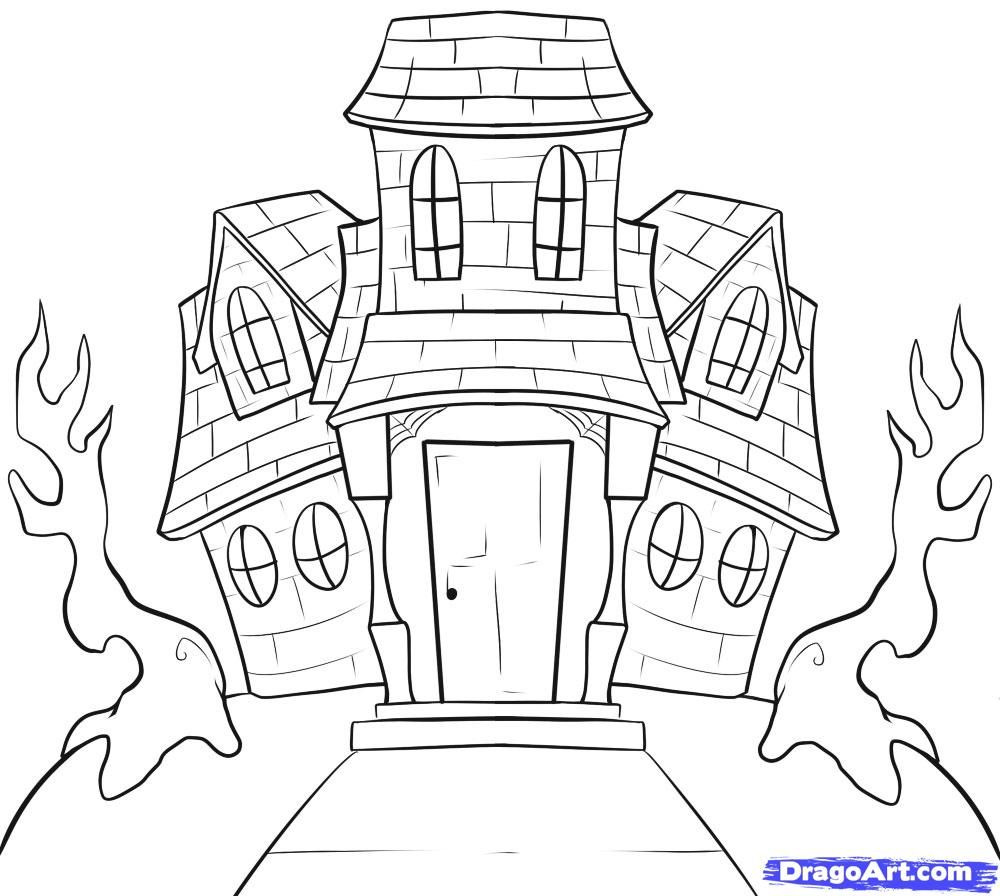 Drawn House halloween Haunted house drawing, House