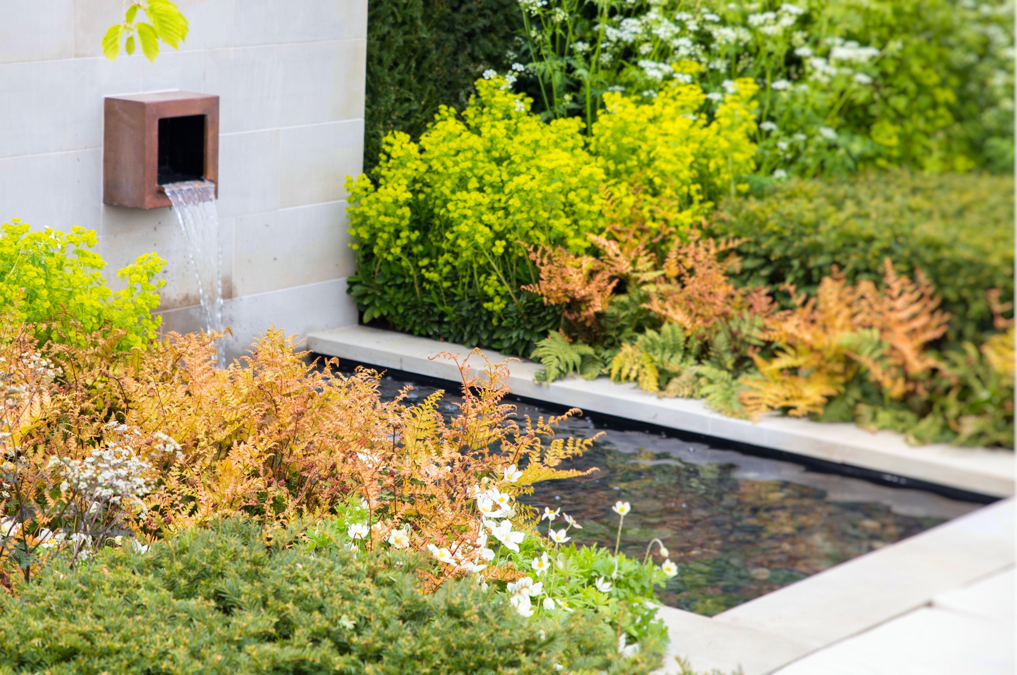 Modern outdoor water feature | Malvern garden show | Contemporary gardens | Oxford Garden Design
