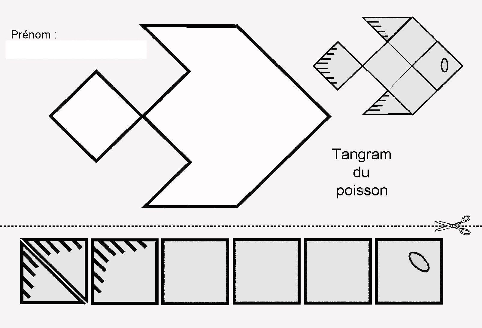 Tangram du poisson figures et pi ces pour maternelle - Le petit poisson rouge maternelle ...