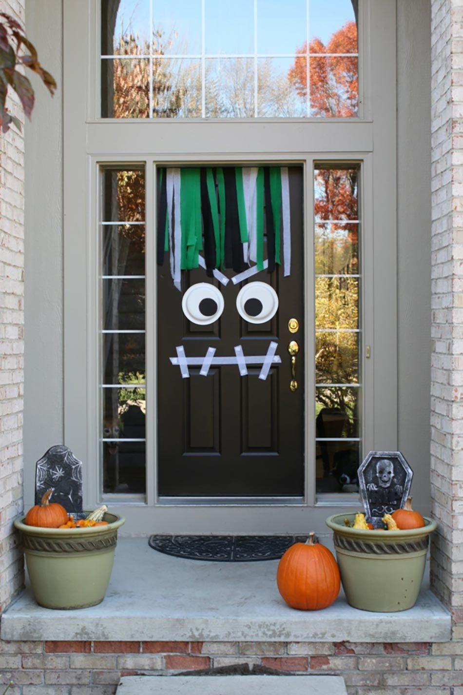 Porte d\u0027entrée Halloween déco visage méchant