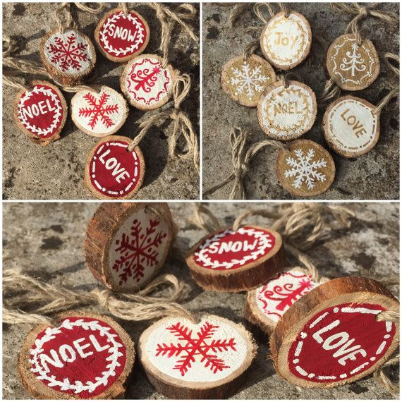 Set of 6 Small Branch Slice Christmas Tree Decorations - Rustic