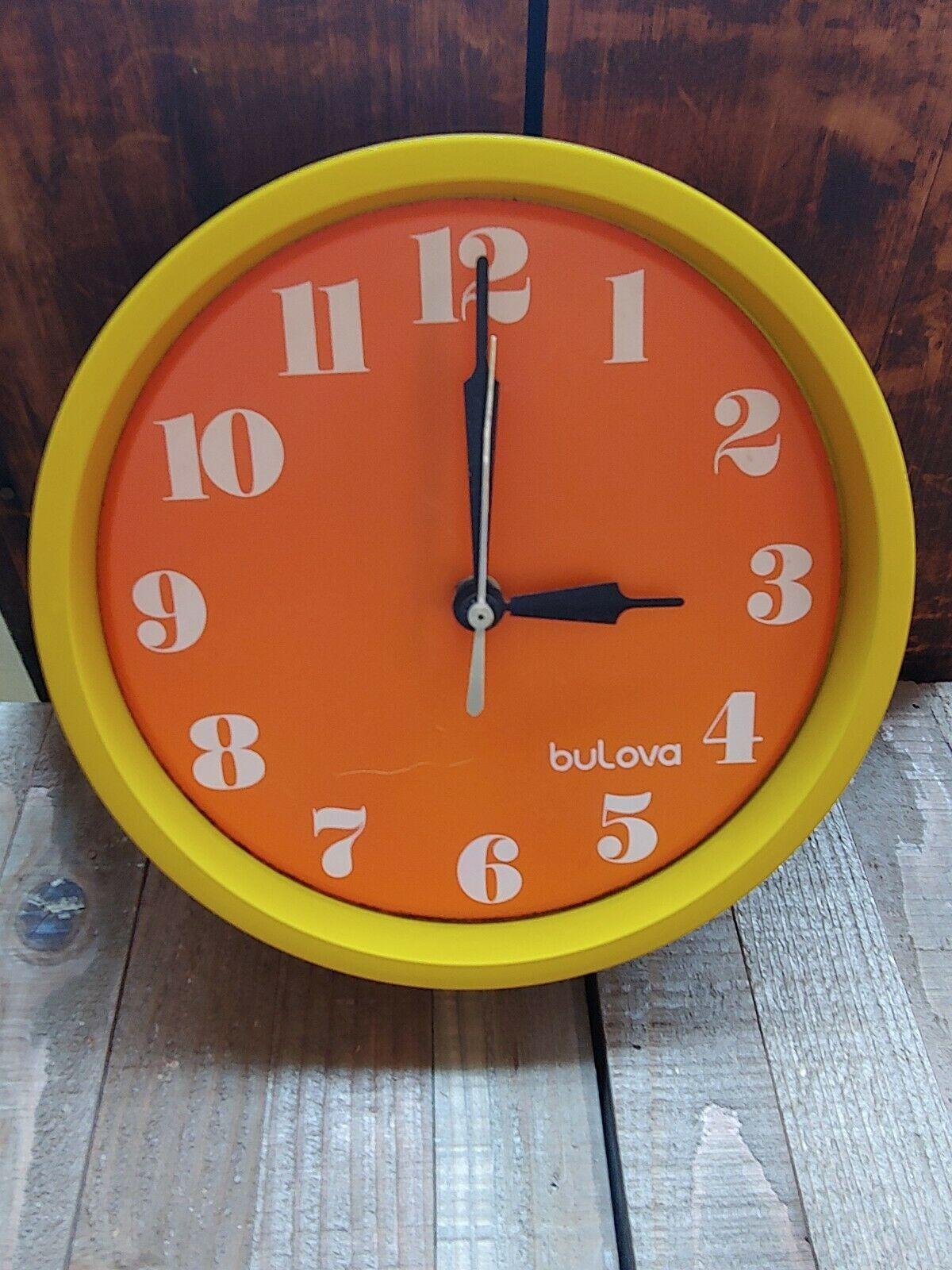 Vtg Plastic Bulova Yellow Orange Wall Clock Mid Century