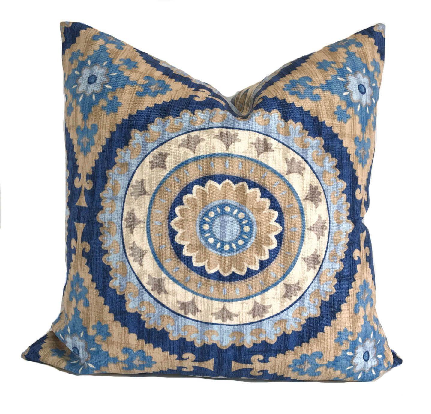 Outdoor Cushion Cover, 20x20, Outdoor Pillow, Patio Cushions, Blue Outdoor  Throw Pillow, Outdoor Decorative Pillow, Suzani Pillow