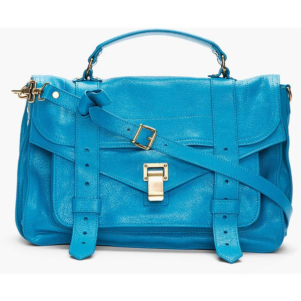 9fb192e4a1 PROENZA SCHOULER Oahu Teal Leather Foldover Ps1 Messenger Bag by None