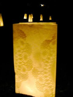 Doily Luminaries to line the path to the church for a winter wedding.....I think so!!!