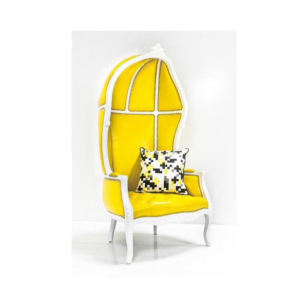 French Twist Balloon Chair In Yellow Faux Leather Featuring Polyvore, Home,  Furniture, Chairs
