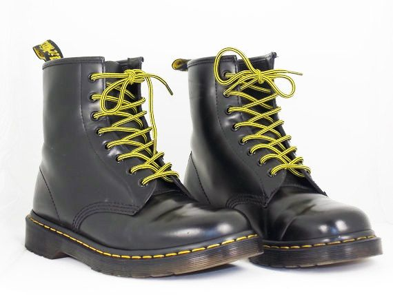 Doc Marten Mens size 10 Black Boots yellow laces by RubesRelics, $64.50