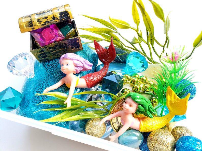 Mermaid Play Dough Kit Mini Kit Playdough Sensory Kit Play