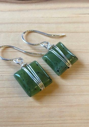 For Sale: Green Serpentine Earrings Natural Green Stone Square...