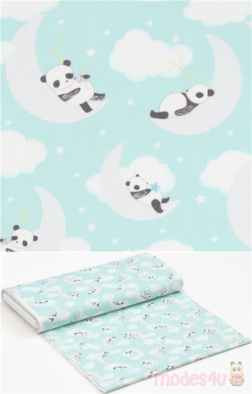 green fabric, with pandas, animal design, mint green cotton fabric with pandas, 100% cotton, smooth cotton fabric, care instructions: machine wash warm (40°C), tumble dry low, use warm iron,  #Cotton #Green #Clouds #Shirts #Dresses #Linings #Skirts #Beddings #Shorts