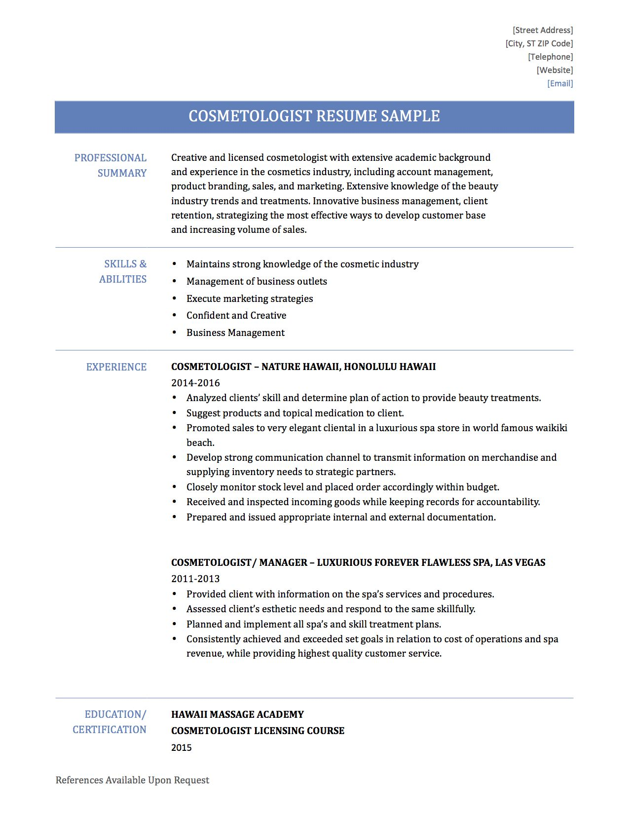 Revenue Agent Sample Resume Resume Sample Cosmetologist Cosmetology Objective Master  Resume .
