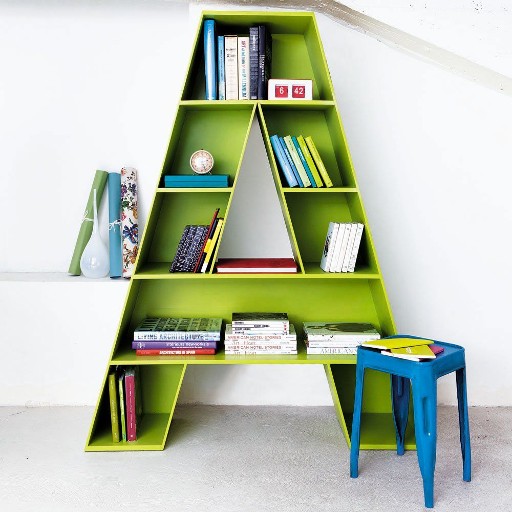 letter a shaped bookcase for childrens room
