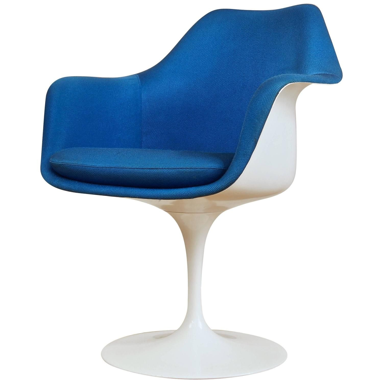 Vintage Tulip Chair / Armchair By Eero Saarinen For Knoll, Blue Upholstery
