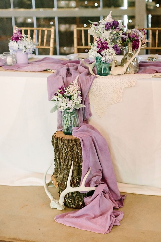 rustic boho chic purple table decor