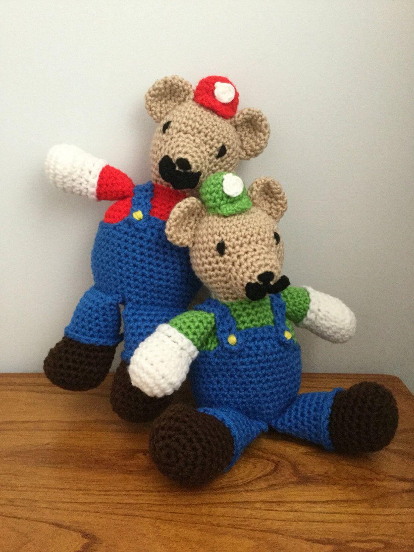 Crochet Amigurumi Mario And Luigi Bear Set Free Shipping By