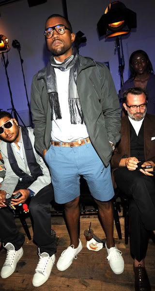 And The Short Of It Kanye West Lanvin Menswear Show Paris Fashion Week 2008 Kanye West Outfits Kanye West Style Kanye Fashion