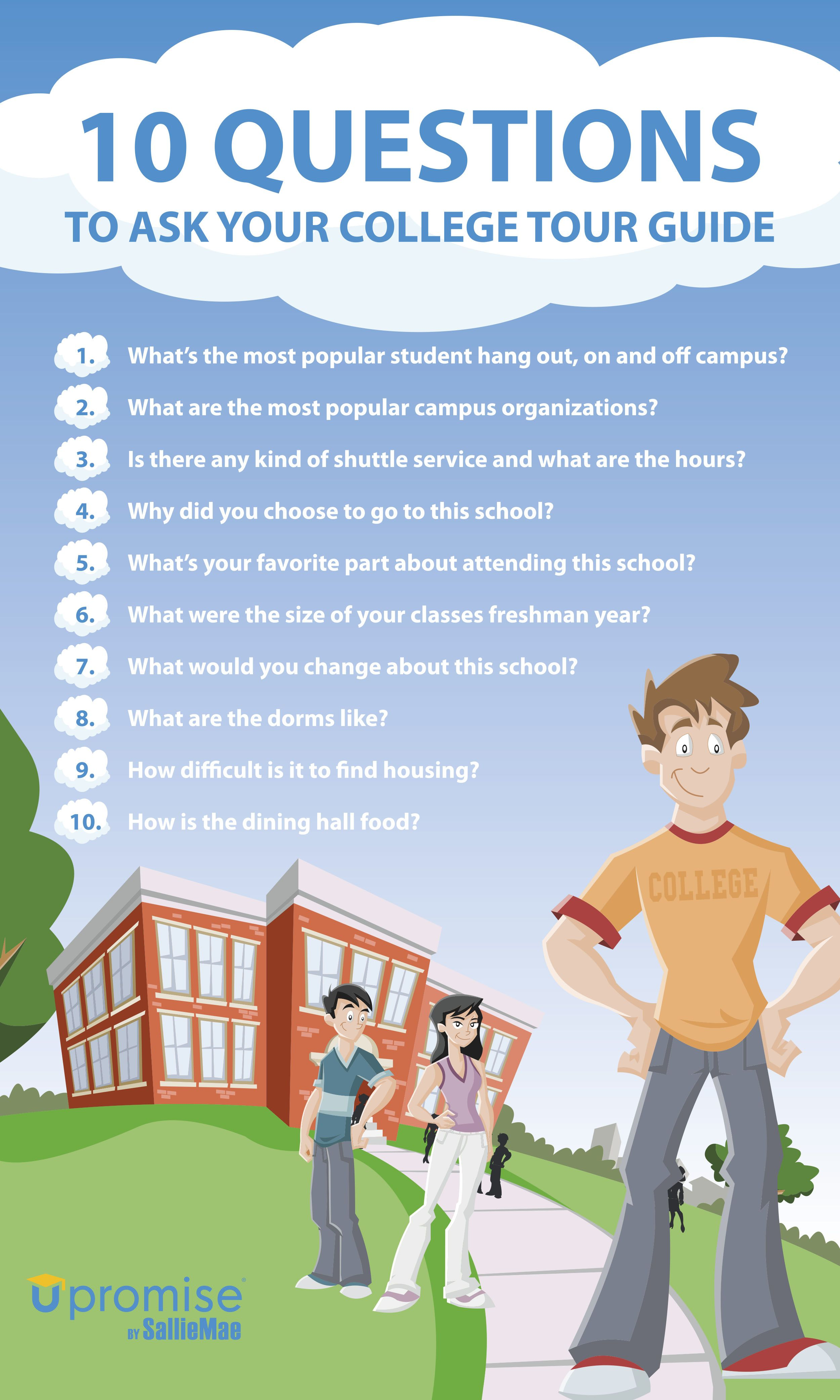 top 10 questions to ask on college s the academic and career 10 questions to ask your college tour guide infographic