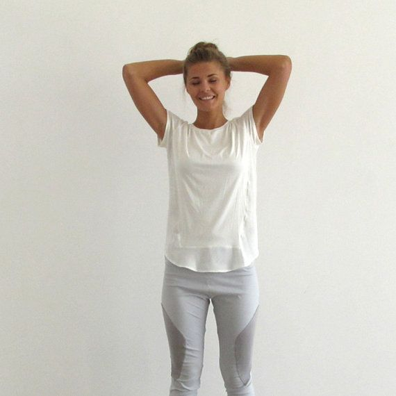Open back top, white summer top, short casual shirt, white ...