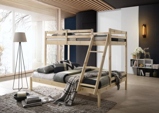 Solid Timber Triple Bunk Bed Single Over Double Natural In