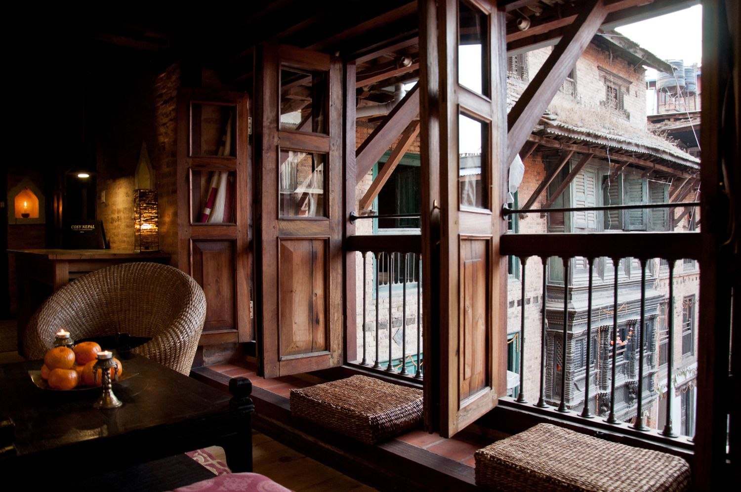 Window for the outer view of peaceful courtyard patan nepal interior architecture cosynepal also rh pinterest