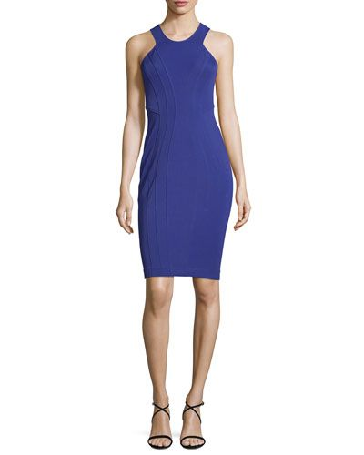 Sleeveless Contour Cocktail Dress, Nightshade