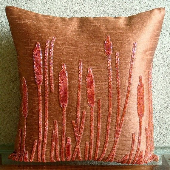 Designer Rust Orange Throw Pillow Cover Custom 16 X16 Art Silk