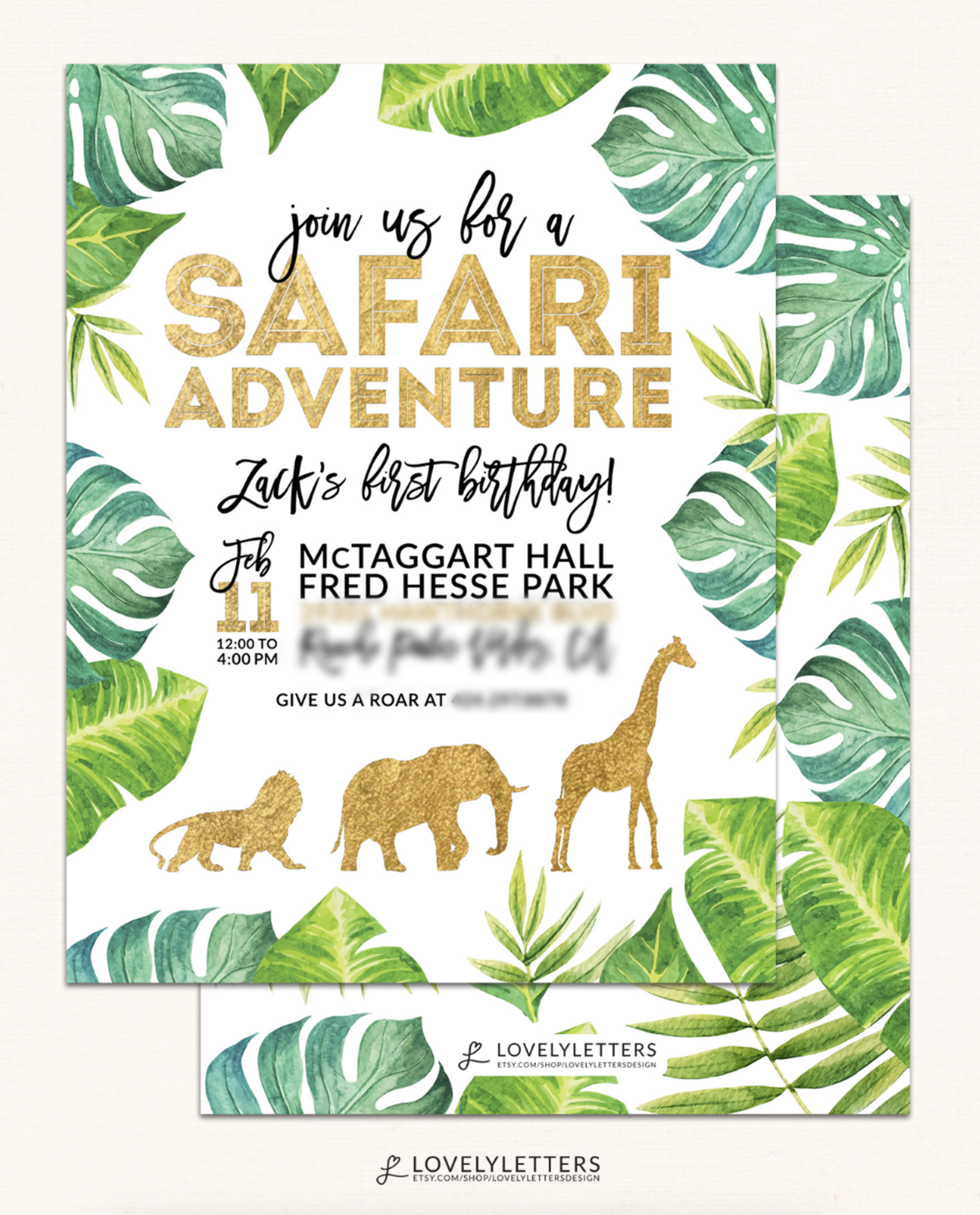 Golden Safari Invitation Gold Party Wild Birthday Zoo Designed By Lovely
