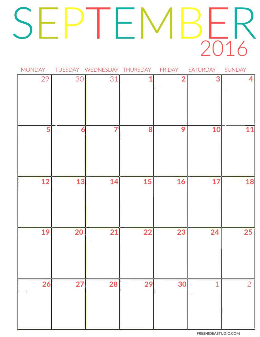 2016 Printable Calendar Blogger Home Projects We Love Pinterest