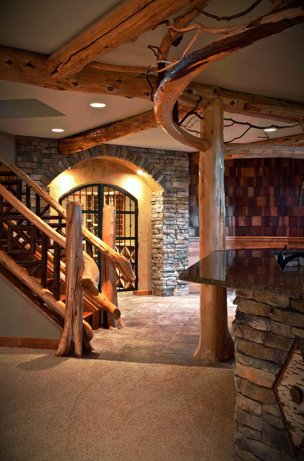 view of stairs wine cellar rustic woodwork in adirondack style