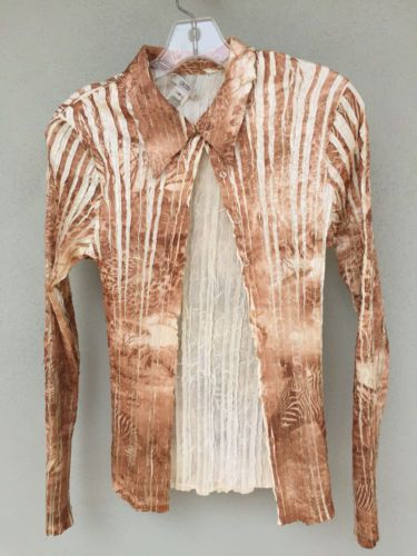 Cache-Copper-Ivory-Crinkle-Pleat-Button-Down-Blouse-Top-Long-Sleeve-Size-M