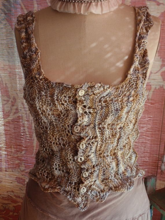 Hand Knit Lace Corset Cover Bodice Antique Victorian Edwardian ...
