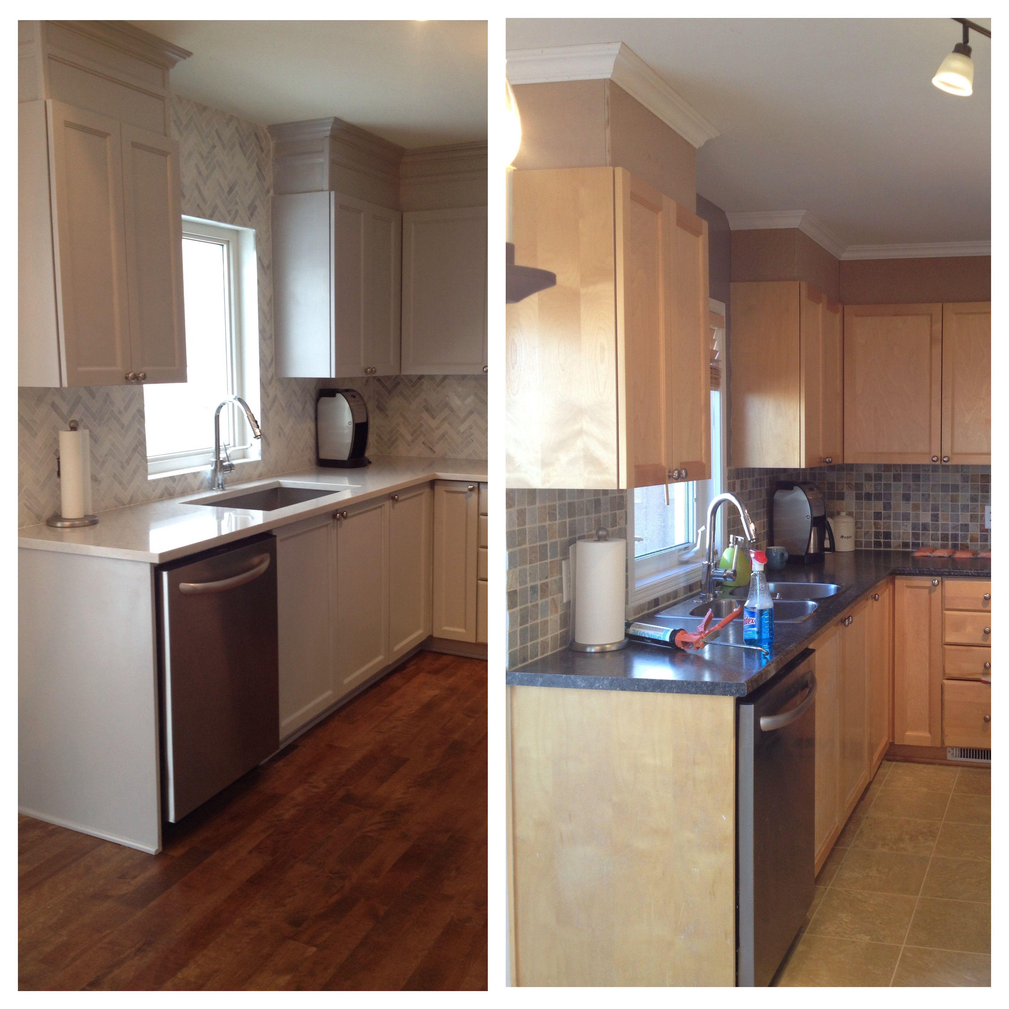 22 Best Grey Hardwood Floors With Maple Cabinets: MAPLE CABINETS: Painted Winter Grey BACKSPLASH : Tumbled