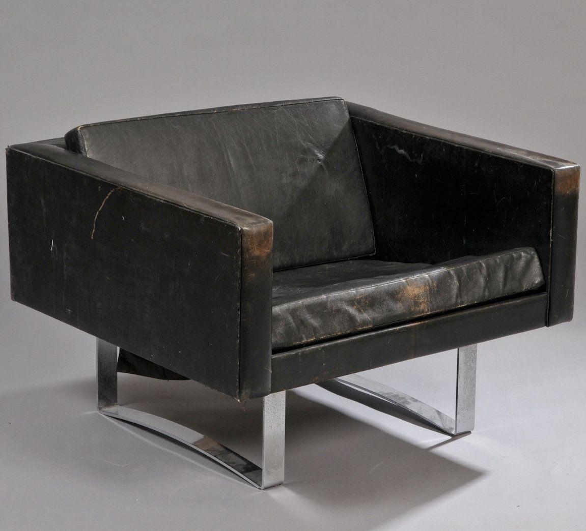 Bodil Kjaer; Chromed Steel and Leather Lounge Chair for Hovedstadens Møbelfabrik, 1959.