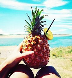 Summer Pineapple Drinks On The Beach With Seashells
