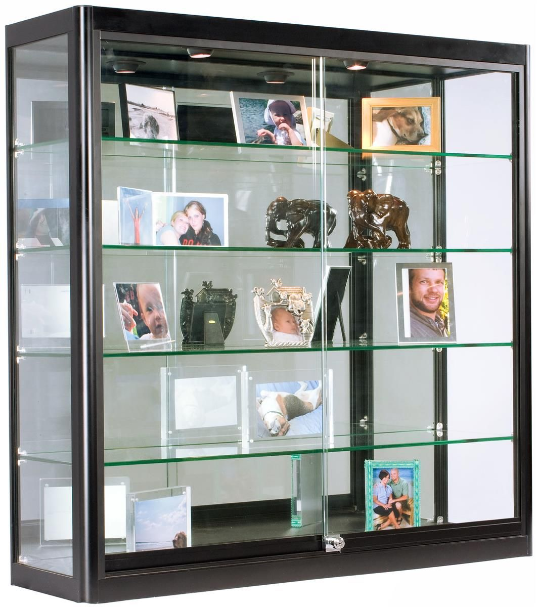 3x3 Wall Mounted Display Case W Mirror Back 2 Top Led Lights Locking Black Wall Mounted Display Cabinets Glass Cabinets Display Glass Cabinet Doors