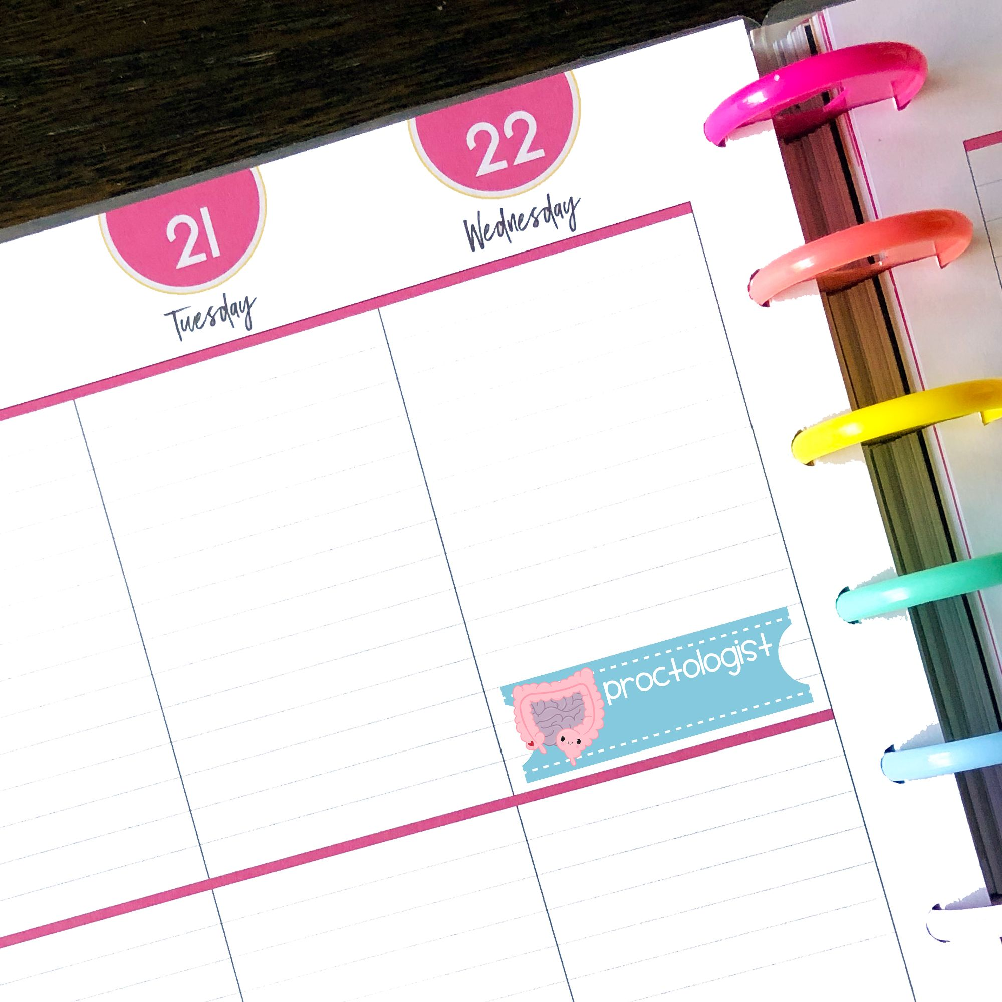 Proctologist Appointment Planner Stickers PRINTABLE