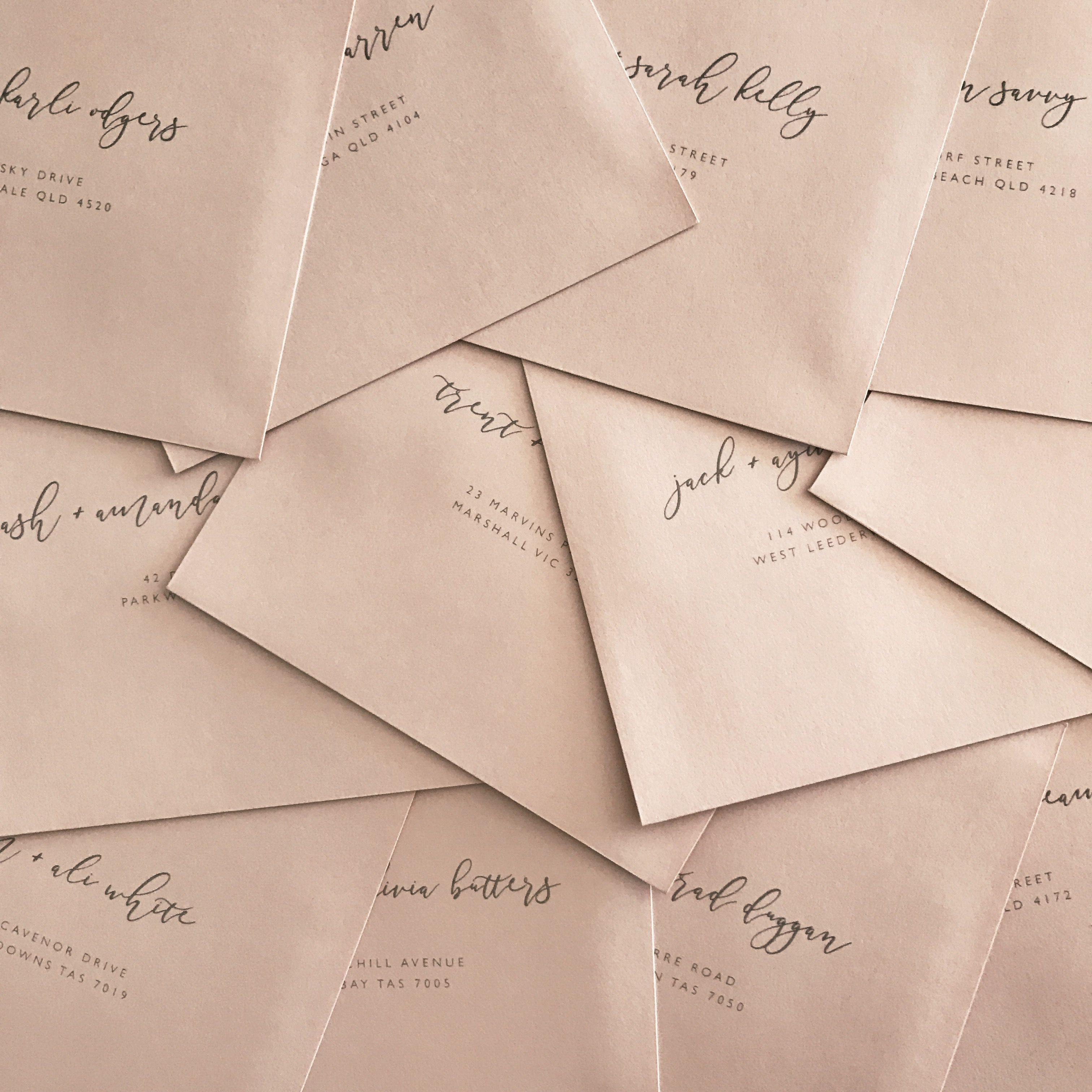 Salmon pink envelopes / by @paigetuzee_designs