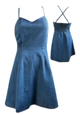 Cross Back Denim Flare Dress - denim #shoppitaya