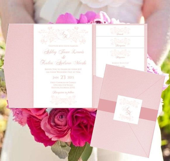 Wedding Pocket Invitation Templates Monogram Blush Pink Fleurs - download invitation templates