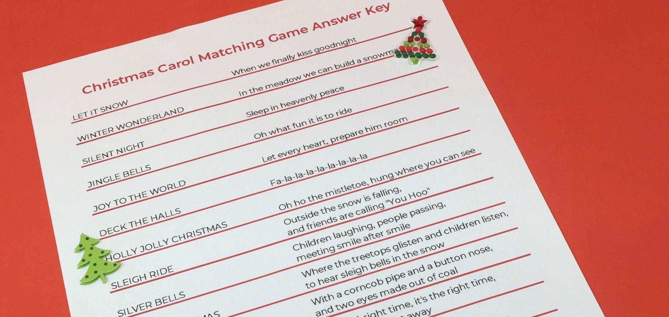 Christmas Carol Matching Game Printable for Seniors