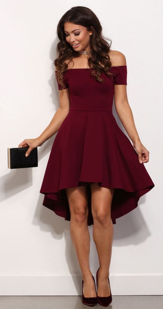 Burgundy Off The Shoulder All The Rage Skater Dress Hairstyles