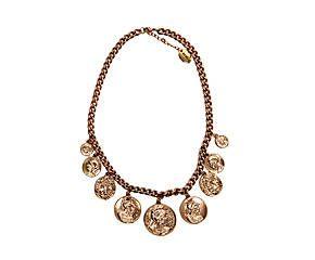 Collar ajustado romano con cadena y moneda - oro